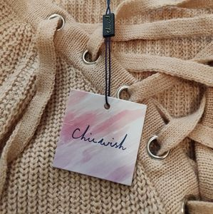 Sweaters - Chicwish lace up oversized sweater